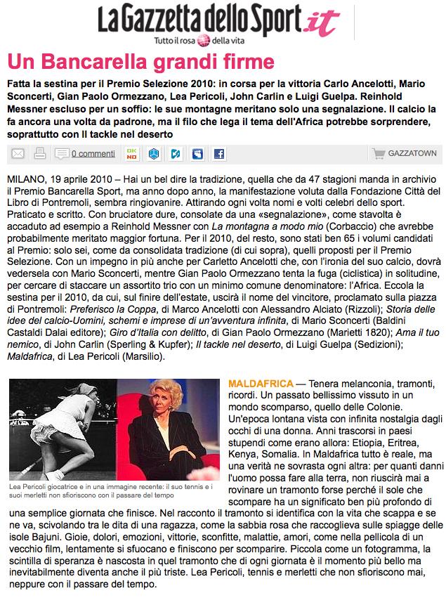 Premio Bancarella Maldafrica di Lea Pericoli selezionato